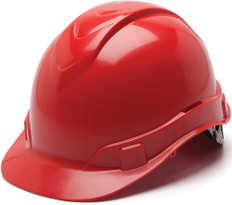 Pyramex #HP44120 Ridgeline Cap Style Safety Helmets with RATCHET Liners - Red - Oblique View