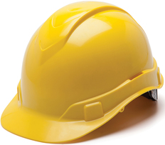 Pyramex #HP44130 Ridgeline Cap Style Safety Helmets with RATCHET Liners - Yellow- Oblique View