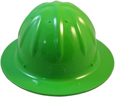 Aluminum Skull Bucket Full Brim Safety Helmets with Ratchet Liners - Hi Viz Green