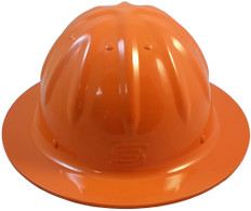 Aluminum Skull Bucket Full Brim Safety Helmets with Ratchet Liners - Hi Viz Orange