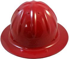Aluminum Skull Bucket Full Brim Safety Helmets with Ratchet Liners – Red