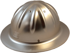 Aluminum Skull Bucket Full Brim Safety Helmets with Ratchet Liners – Silver