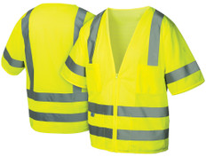 Pyramex Hi-Vis Mesh Class 3 Safety Vests - Lime w/ Silver Stripes - RVZ3110