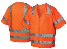 Pyramex Hi-Vis Mesh Class 3 Safety Vests - Orange w/ Silver Stripes - RVZ3120