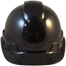 Pyramex Ridgeline Cap Style Hard Hat Shiny Black Graphite Pattern - Front View