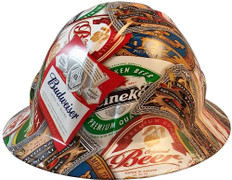 Beer Cans Full Brim Style Hydrographic Hard Hats - Oblique View