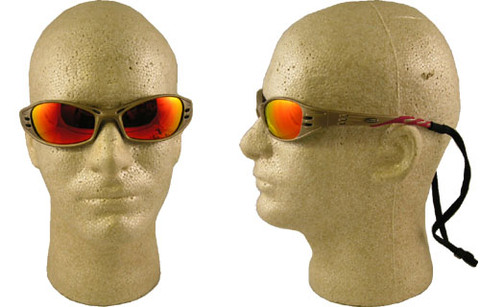 AO Safety #11640 Fuel Safety Eyewear Sand Frame w/ Red Mirror Lens