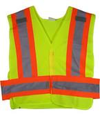 ANSI 207-2006 Public Service Safety Vests Lime with Orange/Silver Stripes 5 point Velcro® Tear-Away Standard