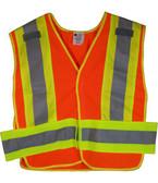 ANSI 207-2006 Public Service Safety Vests Orange with Lime/Silver Stripes 5 point Velcro® Tear-Away Standard Size