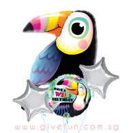 Colorful Toucan Birthday Balloons Bouquet