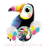 Colorful Toucan Birthday Triplet Balloons Bouquet