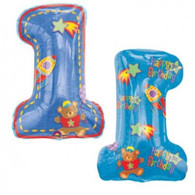 Party Theme Foil Balloon: 1st Birthday Blue Foil Balloon with double sided printing