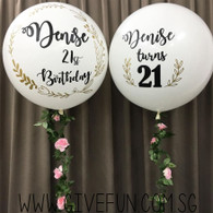 Personalized  36'' Perfectly Round Floral Balloons