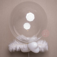 "Crystal Clear 24"" Transparent Balloons with Feathers"