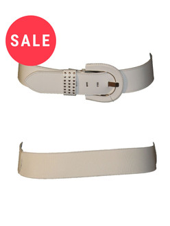 Ladies Leather White Belt - WAS £1.75   NOW £0.50