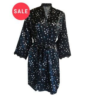 Ex M-S Ladies Black Floral Satin Wrap- WAS £4.95   NOW £3.00