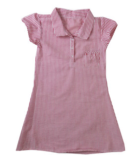 Girls Red Stripe  Gingham School Dress - £2.00
