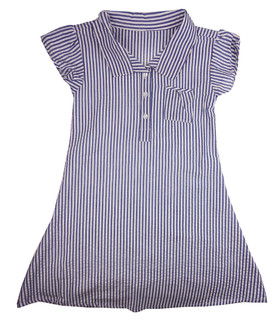 Girls Gingham Stripe Blue School Dress - £2.00