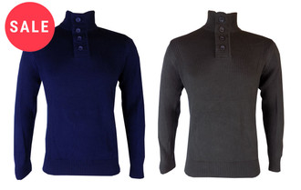Ex F-F Mens Button Neck Jumper  - WAS £4.95   NOW £3.00