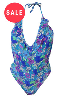 Ex T-p S-op Backless Blue Floral Swimsuit - WAS £4.50   NOW £3.00