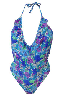 Ex T-p S-op Backless Blue Floral Swimsuit - £4.50