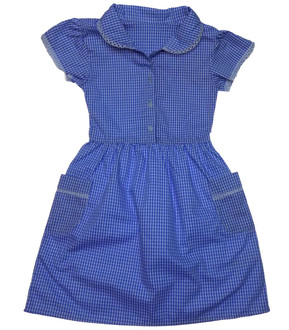 Ex M-S Girls Blue Gingham School Dress - £2.50