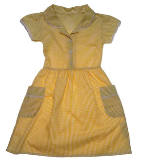 Ex M-S Girls Yellow Gingham School Dress - £2.50