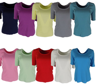 Ex M-S Ladies  Half Sleeve Scoop Neck Top - £2.00