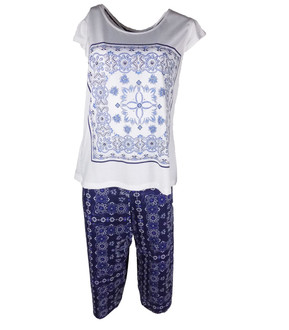 Ex Major Highstreet Ladies Blue Printed Pyjama Set - £4.95