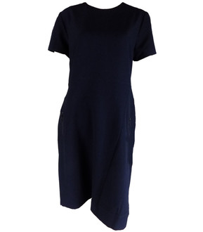 Ex N-xt Ladies Navy Short Sleeve Dress With Zip Pockets - £6.95