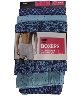 Mens Ex M-S Assorted Patterned Woven Boxers  - £4.95