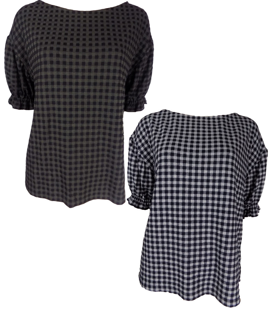 EX Highstreet Black And White Checked Top