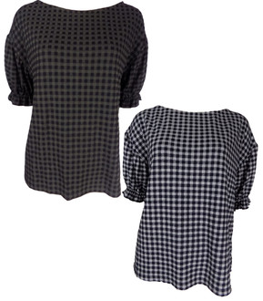 Ex M-S Ladies Gingham Ruched Sleeve Top - £3.50