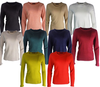 Ex M-S Ladies Soft Ribbed Round Neck Jumper Assorted- £4.50