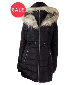 Ex N-w L-ok Ladies Black Faux Fur Hooded Parka - WAS £14.99   NOW £10.00