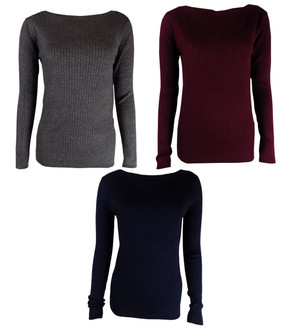 Ex M-S Ribbed Slash Neck Ladies Jumpers - £4.25