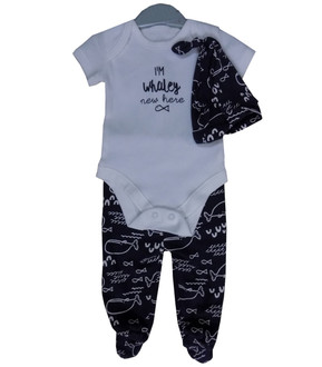 Ex Major High Street Baby Boy Whale Pattern Set - £3.50