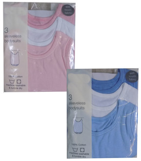 Ex Major High Street 3 Pack Baby Sleeveless Bodysuits - £1.50