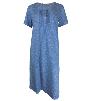 Ex M-S Ladies Blue Floral Short Sleeve Nightdress - £4.25