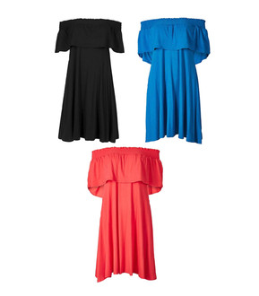Ex M-S Ladies Assorted Smocked Half Sleeve Bardot Summer Dresses - £4.95