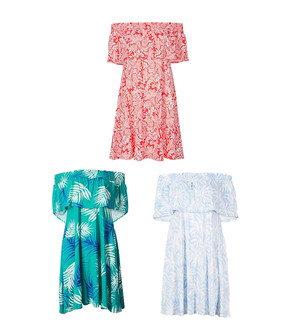 Ex M-S Ladies Assorted Patterned Smocked Half Sleeve Bardot Summer Dresses - £4.95