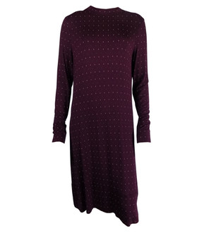Ex M-S Ladies Maroon Printed Long Sleeve Swing Dress - £4.00