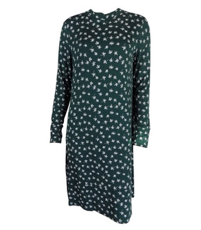 Ex M-S Ladies Green Printed Long Sleeve Swing Dress - £4.00