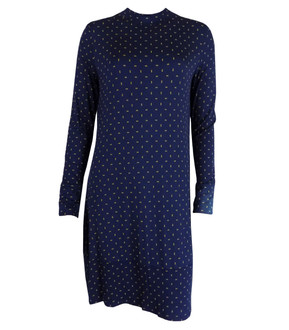 Ex M-S Ladies Navy Printed Long Sleeve Swing Dress - £4.00