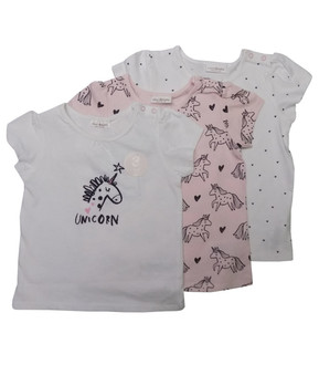 Ex N-xt Girls 3 Pack Unicorn Pattern Tops - £4.50