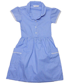 Ex M-S Girls Blue Gingham School Dress with Pockets - £2.50