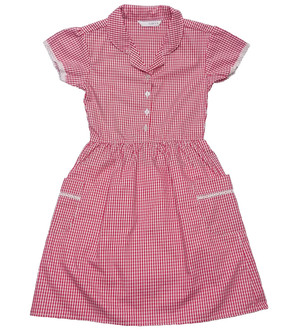 Ex M-S Girls Red Gingham School Dress with Pockets - £2.50