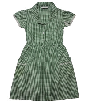 Ex M-S Girls Green Gingham School Dress with Pockets - £2.50