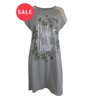 Ex Major High Street Ladies Grey Short Sleeve Nightdress - WAS £3.75   NOW £2.50