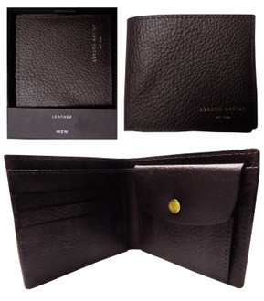 Men's Black And Brown Bifold Leather Wallet  - £3.50
